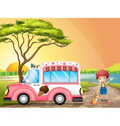 A boy with a cat beside an icecream truck vector
