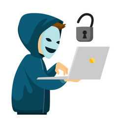 A hacker holding a laptop vector
