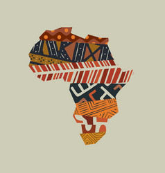 Africa continent map tribal art concept isolated vector