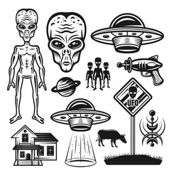 Aliens and ufo set objects or elements vector