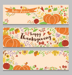 Autumn banners set horizontal three templates in vector