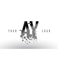 Ay a y pixel letter logo with digital shattered vector