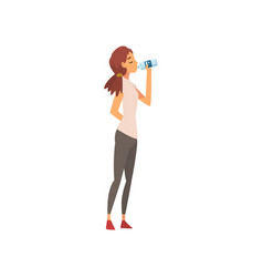 beautiful young woman drinking fresh clean water vector image