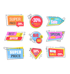 best offer emblems set for advertisement vector image