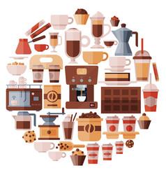 big set coffee equipment vector image