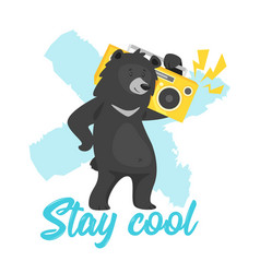 Black bear design for t-shirt vector
