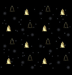 black seamless pattern with golden christmas trees vector image