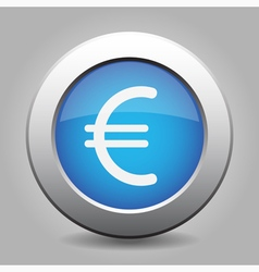 blue metal button with euro currency symbol vector image