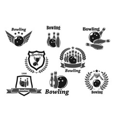 bowling championship or contest award icons vector image
