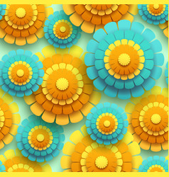 bright seamless pattern 3d flower chrysanthemum vector image