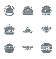burger logo set simple style vector image
