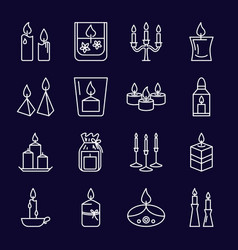 Burning candles icons set in thin line style vector