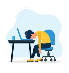 burnout concept with exhausted man vector image