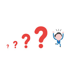 businessman character running away from question vector image