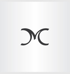 calligraphy letter m logo black icon symbol vector image