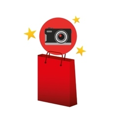 Camera red bag gift star design vector