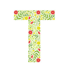Capital letter t green floral alphabet element vector