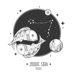 Card with astrology pisces zodiac sign vector