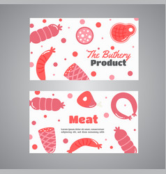 Cards with meat products flat meat farm elements vector