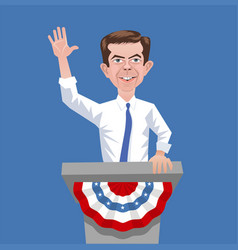 Caricature presidential candidate pete buttigieg vector