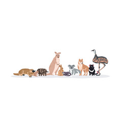 Cartoon endangered wild australian animals vector