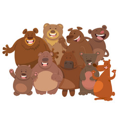 Cartoon wild bears animal characters group vector