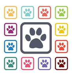 Cat footprint flat icons set vector