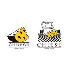 Cheese with milk jug brand logo icon vector