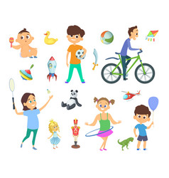 children playing at different games and toys vector image