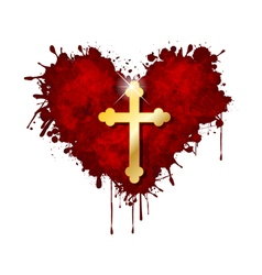 Christian cross in the heart vector image