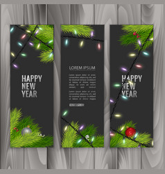 christmas banners set with fir branches decorated vector image