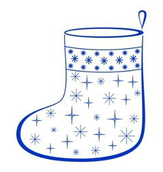 Christmas stocking with furtrees pictogram vector