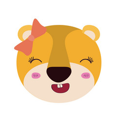Colorful caricature cute face female lioness vector