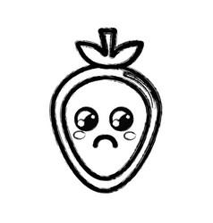 Contour kawaii nice sad strawberry icon vector