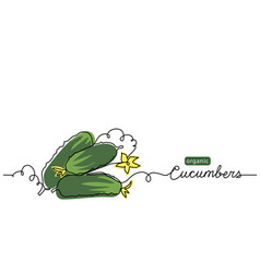 cucumbers one line drawing vector image