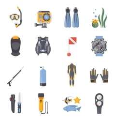 Diving and snorkeling flat decorative icons vector