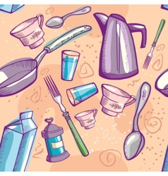 doodle cookware vector image
