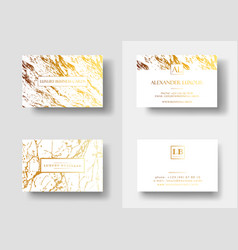 Elegant business cards with marble texture and vector