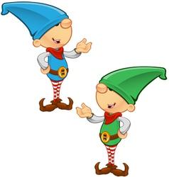 Elf mascot presenting vector