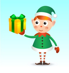 Elf with giftbox vector