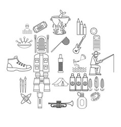 Entertainment on the water icons set outline vector