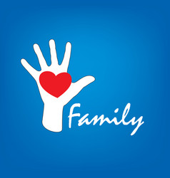 family icon in the form of hands vector image