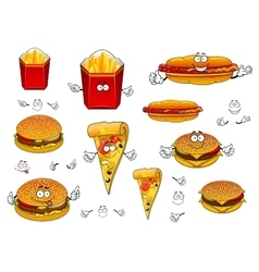Fast food french fries pizza hotdog and burgers vector image