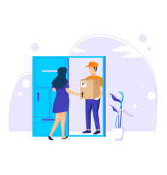 Fast online delivery couriers deliver goods or vector