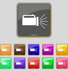 Flashlight icon sign set with eleven colored vector