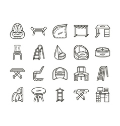 Furniture for home simple line icons set vector image