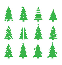 green silhouette christmas trees stylized simple vector image