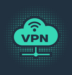 Green vpn network cloud connection icon isolated vector