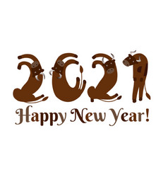 greeting card - happy new year bulls in shape vector image
