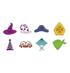 Haloween hat icon set color outline style vector